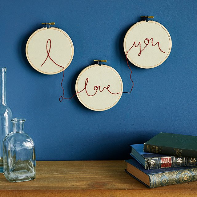 I Love You Embroidery Wall Art