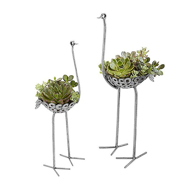 7cb852962 Recycled Metal Ostrich Planter