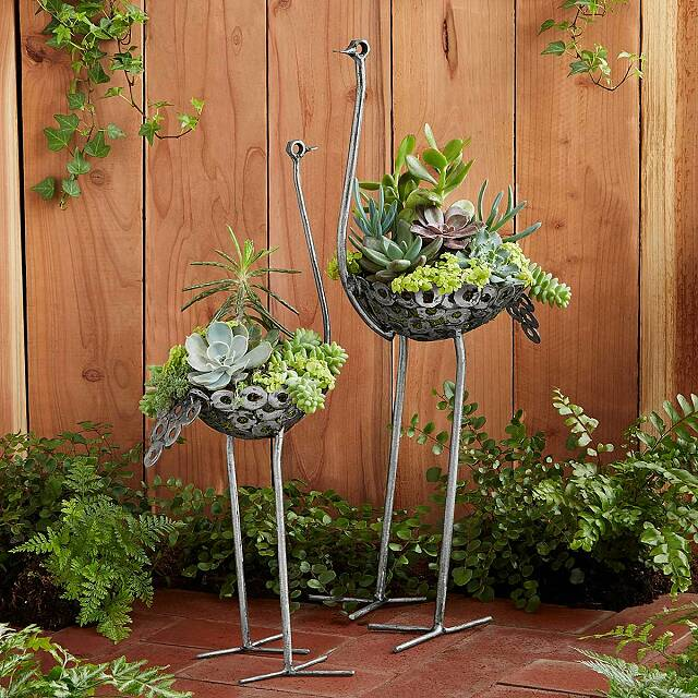 Recycled Metal Ostrich Planter Garden Art Uncommongoods