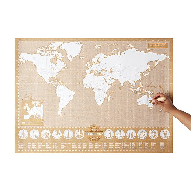 Stamp map world map travel planner uncommongoods stamp map gumiabroncs Choice Image