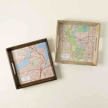 2018 housewarming gifts uncommongoods custom map serving tray negle Gallery
