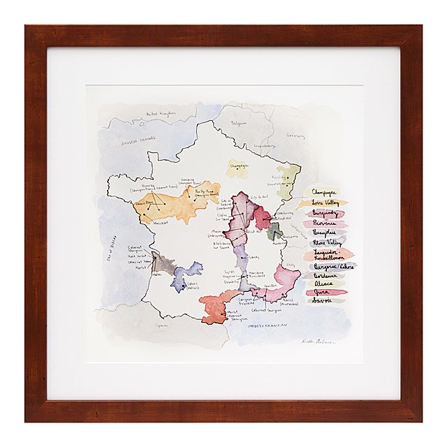 Print Map Of France.Wine Regions Of France Print French Wine Europe Map