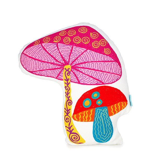 Merry Mushroom Embroidered Pillow