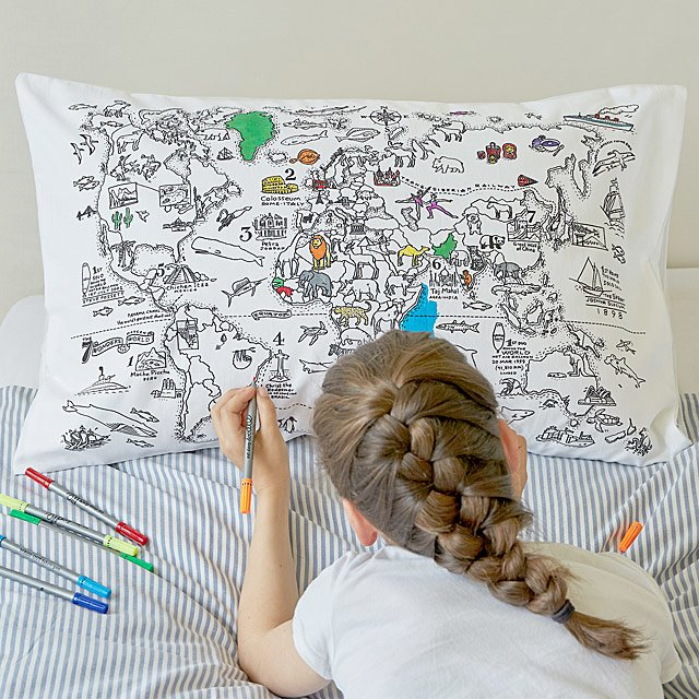 Color Your Own Map Pillowcase Coloring for Kids UncommonGoods