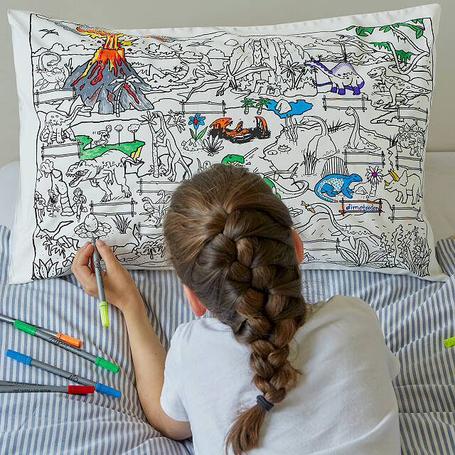 Color Your Own Dinosaur Pillowcase | kids bedding, dinosaur games ...