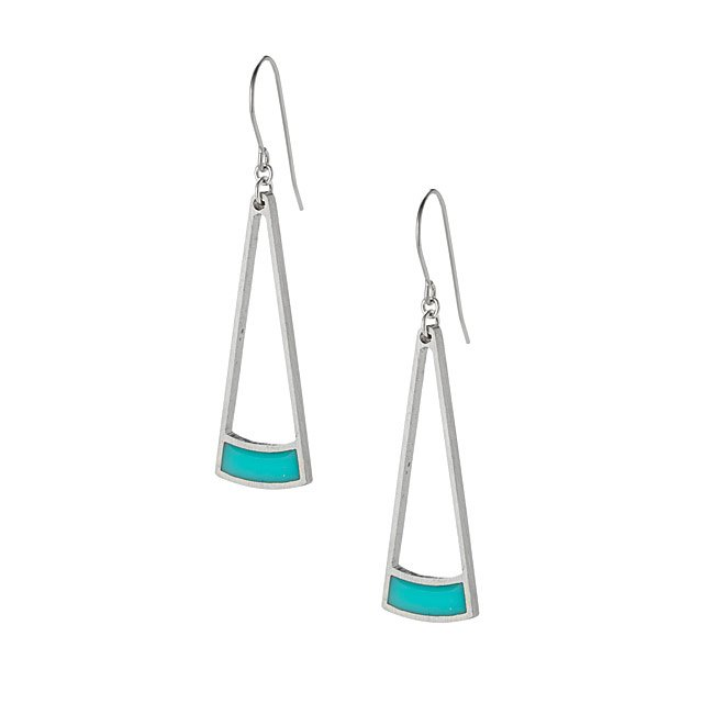 Aqua Wedge Earrings