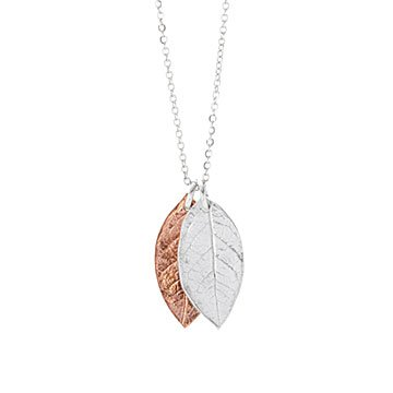 Falling Leaves Copper and Silver Necklace