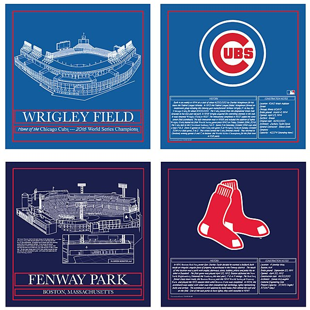 Baseball Stadium Blueprint Pillows - Team Colors