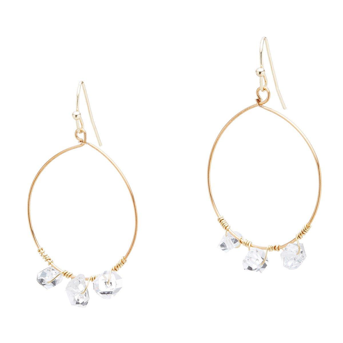 Wire-Wrapped Herkimer Diamond Hoop Earrings   Handmade Quartz ...