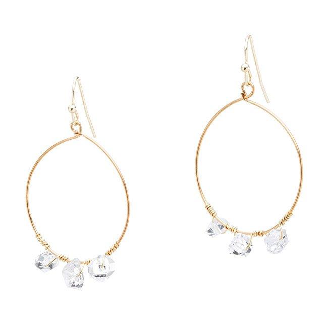Wire Wred Herkimer Diamond Hoop Earrings