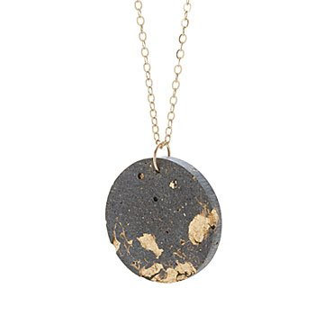 Gilded Concrete Circle Necklace