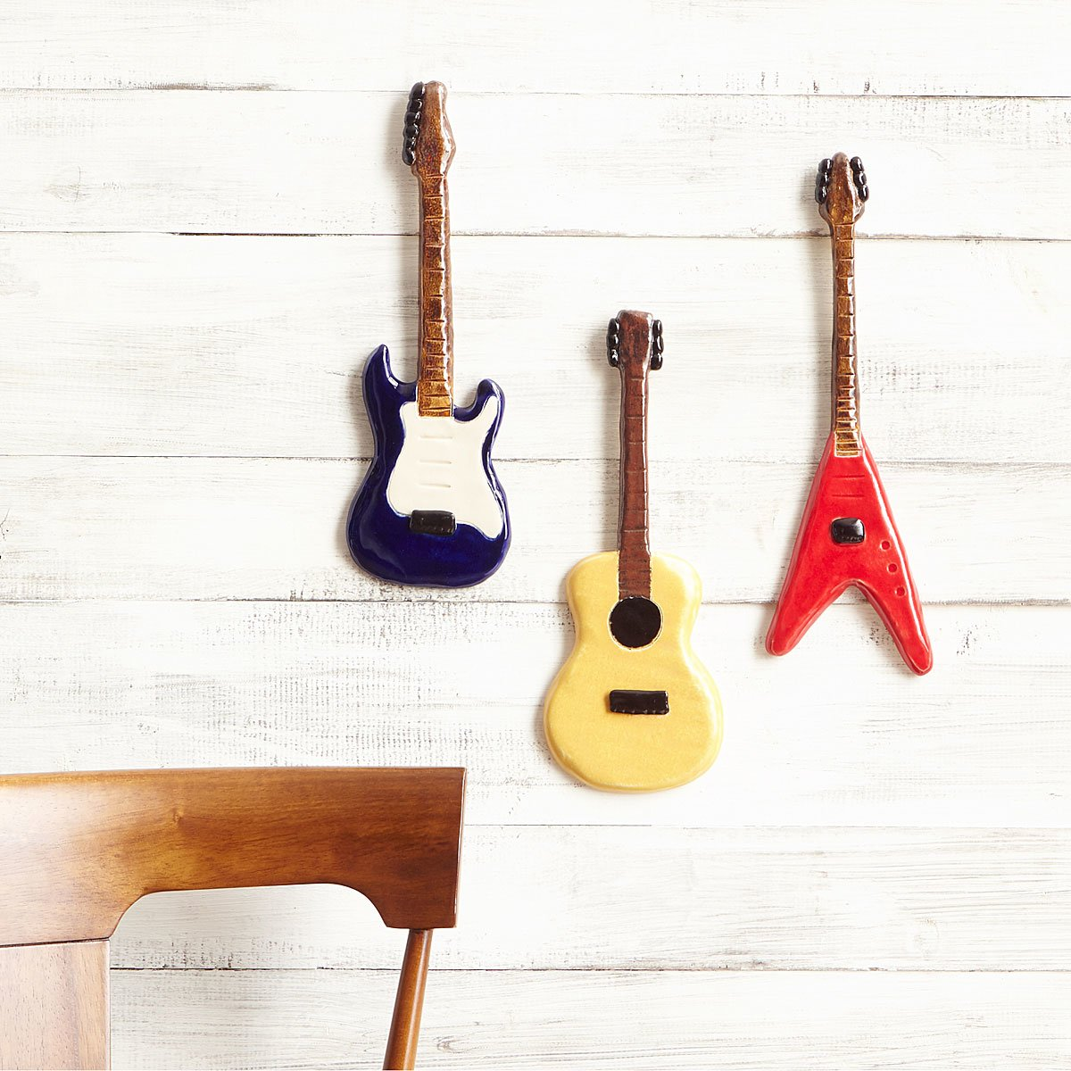 Ceramic Guitar Wall Sculptures Music Decor Vintage Guitars