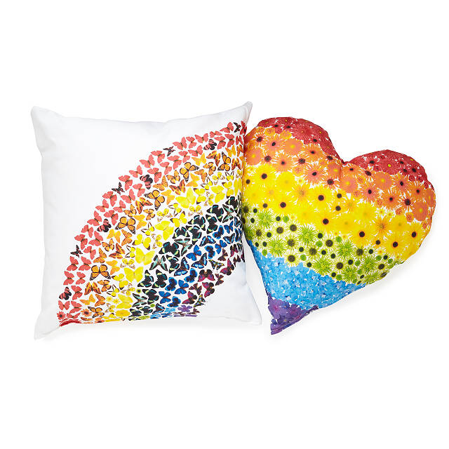 Butterflies & Flowers Rainbow Pillow