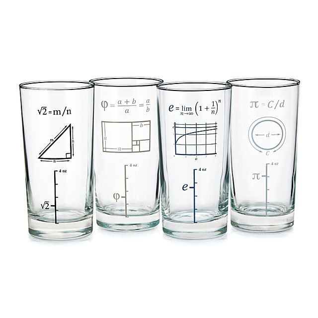 Marvelous Mathematical Glasses   Set Of 4