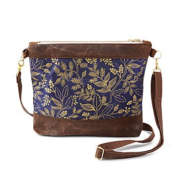 Gold Waxed Canvas Crossbody Bag