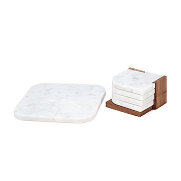 Marble Trivet and Stackable Coaster Set