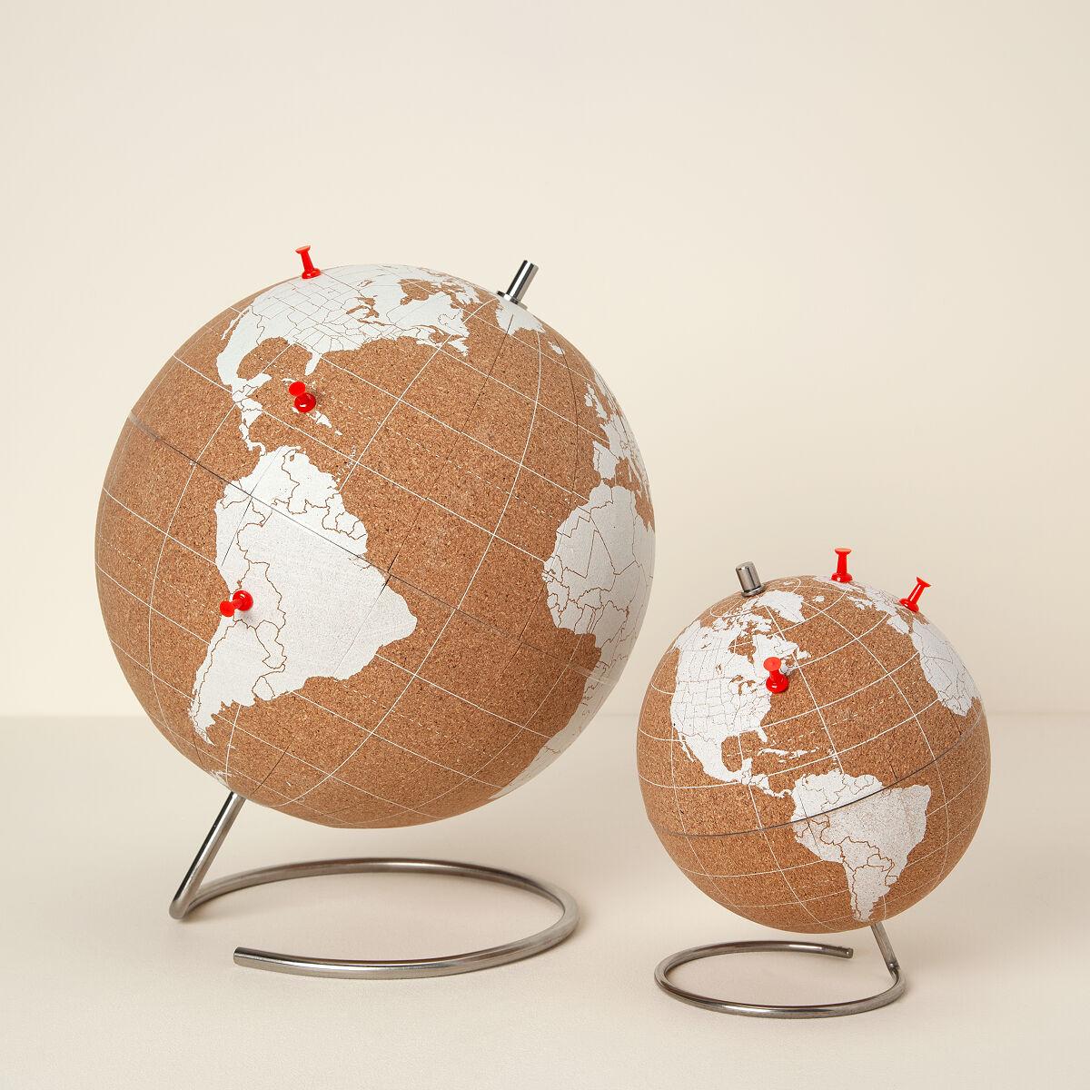 world traveler s cork globe world globe push pins uncommongoods