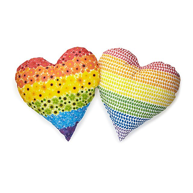 Flowers & Candy Rainbow Heart Pillow