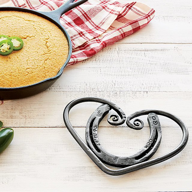 Personalized Horseshoe Heart Trivet
