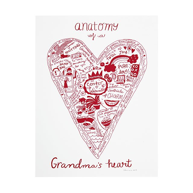 Anatomy Of A Grandparents Heart Screenprint Grandma And Grandpa