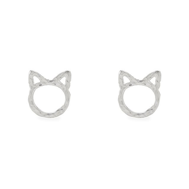 Sterling Silver Kitty Cat Studs
