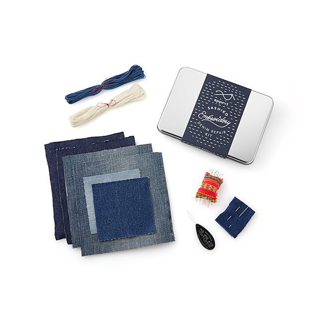 Japanese Sashiko Denim Patch Kit