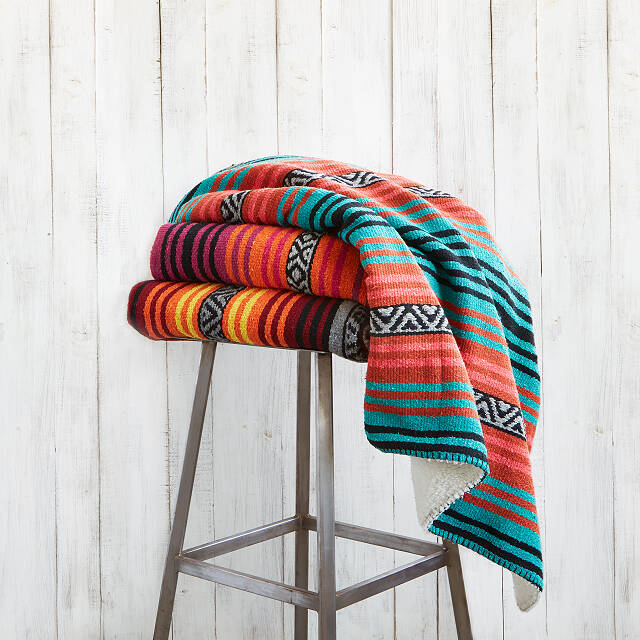 Sherpa Backed Mexican Blanket