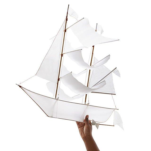 White Sailing Ship Kite Balinese Artisans Pirate Ship Uncommongoods