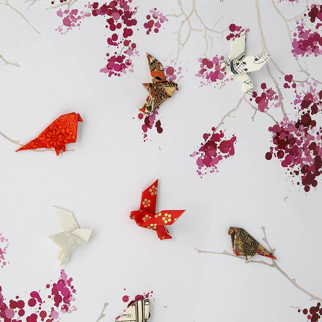 Art ~ Birds Decor ~ Vivid Coaster Cherry Blossoms Gift Flowers Tree