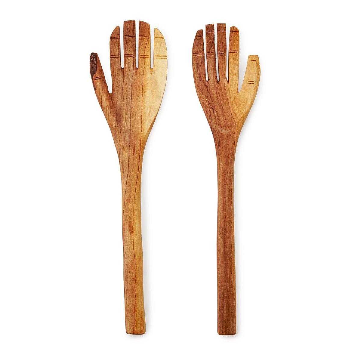 Hand Carved Olive Wood Serving Set | Olive Wood, Wooden Spoon ...
