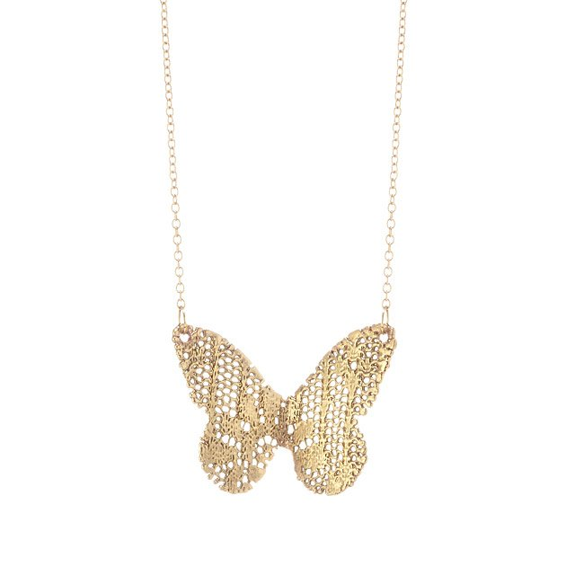 Gold-Dipped Lace Butterfly Necklace