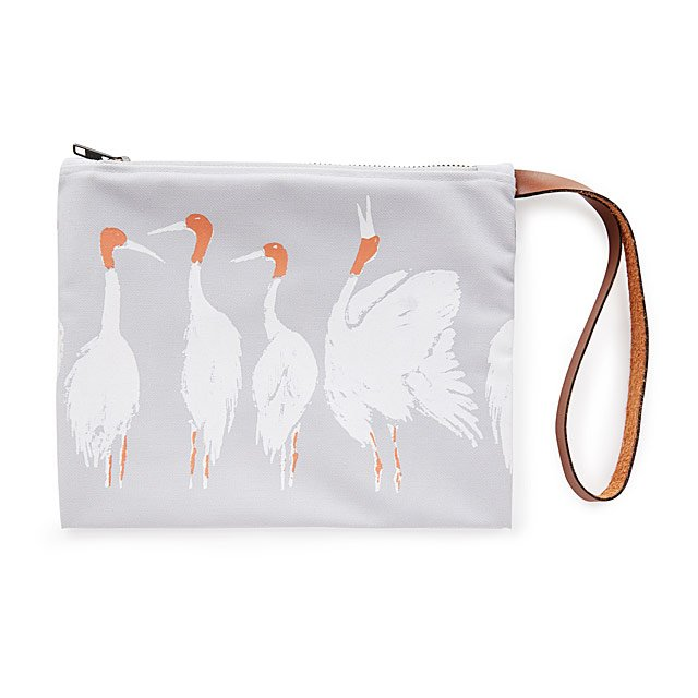 Upcycled Clutch with Cranes