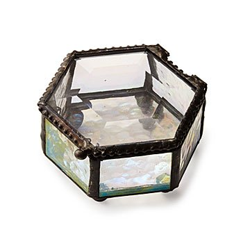 Hexagon Stained Glass Mini Jewelry Box