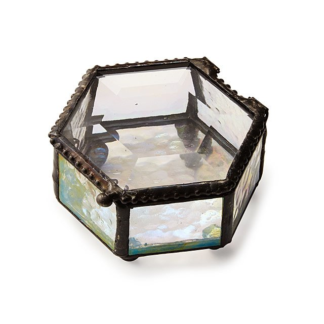 Hexagon Stained Glass Mini Jewelry Box Keepsake Box Jewelry