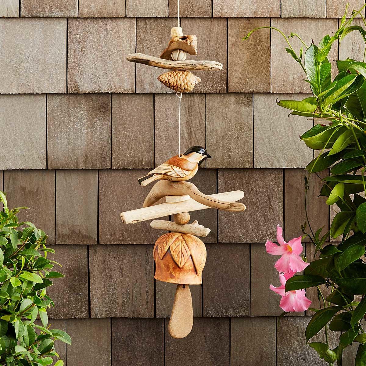 Driftwood Birdie Chime | Handmade Garden Decor; Unique Bird Lover ...