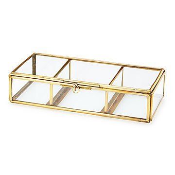 Brass and Glass Box with Moveable Dividers