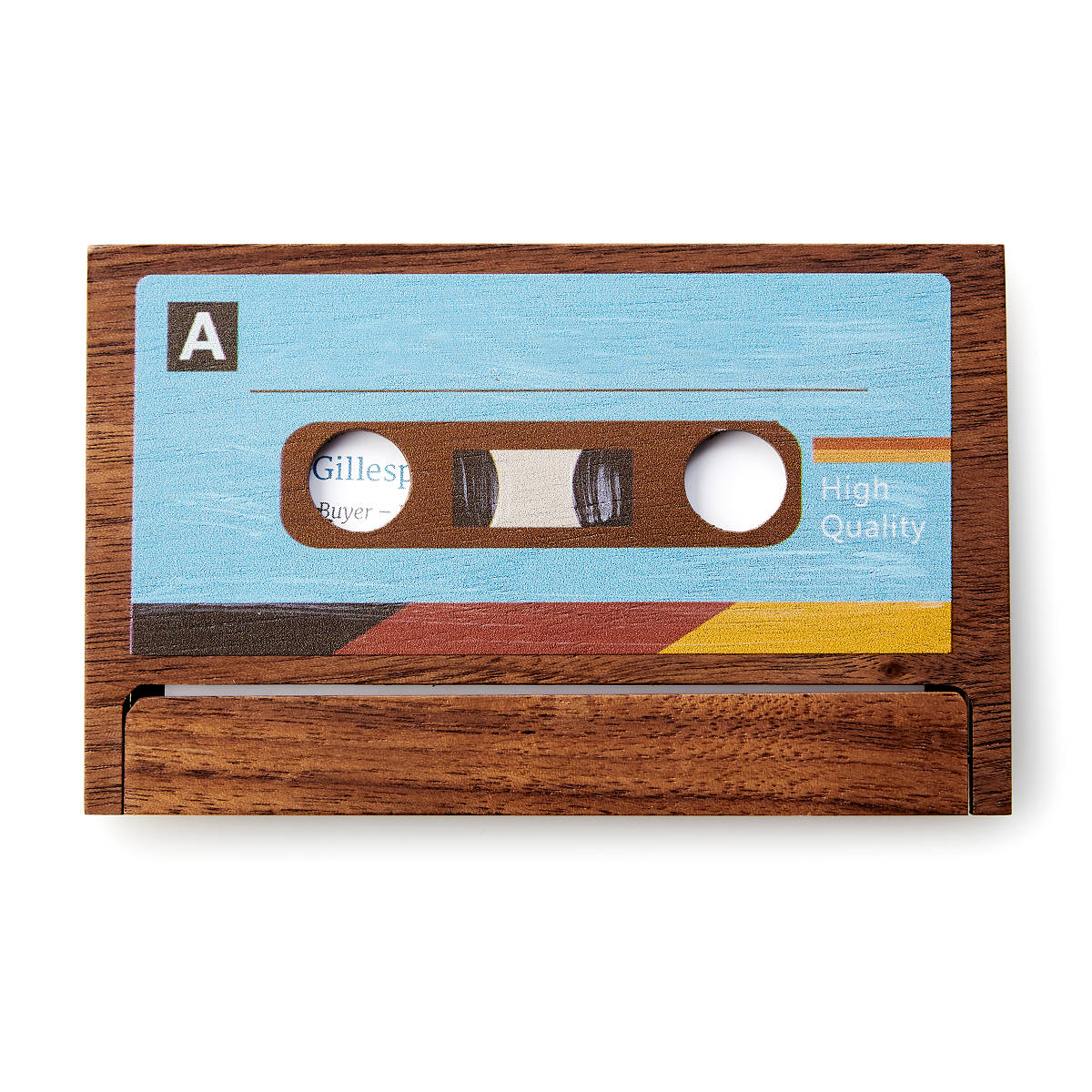 Cassette business card case cassette tape wooden card holder cassette business card case 2 thumbnail reheart Image collections
