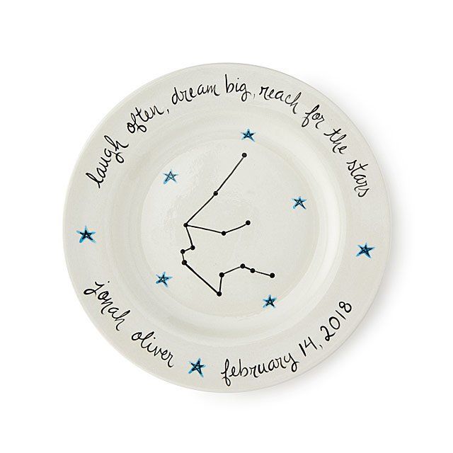 personalized celestial baby plate baby keepsake new born gifts