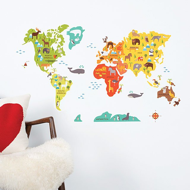 World Map Fabric Wall Decal | Creative Kids Decor; Playful Geography ...