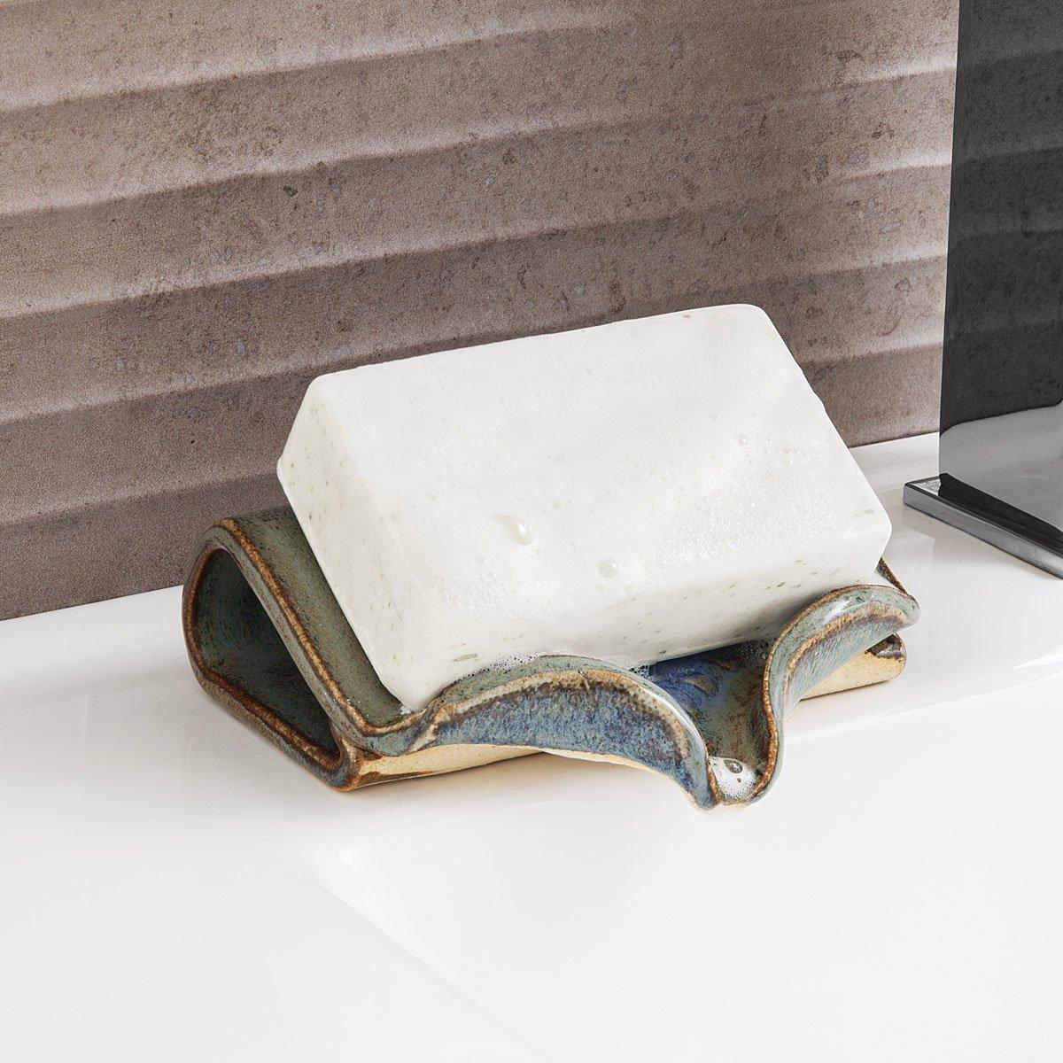 Ceramic Self Draining Soap Dish Handmade Bathroom Decor