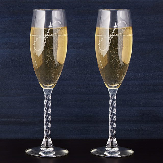 Tie The Knot Champagne Flutes Personalized Wedding Gifts Creative