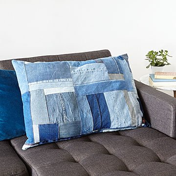 Upcycled Denim Oversized Pillow