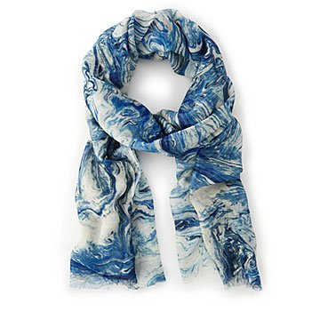 Marbling Blue Scarf