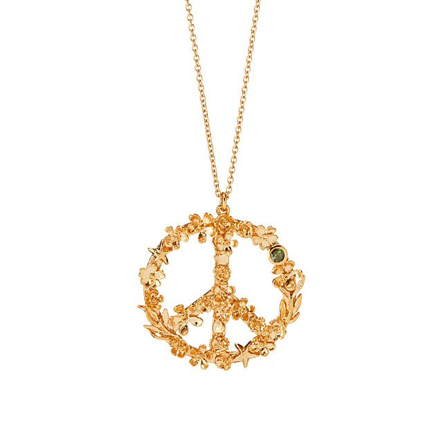 Flower Power Peace Sign Necklace  20592cdf79ae