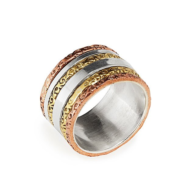 Mixed Metals Textured Spinning Ring