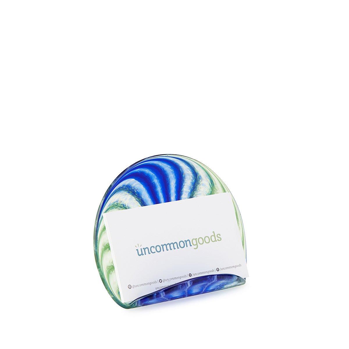 Hand Blown Glass Business Card Holder | Office Desk Gifts ...
