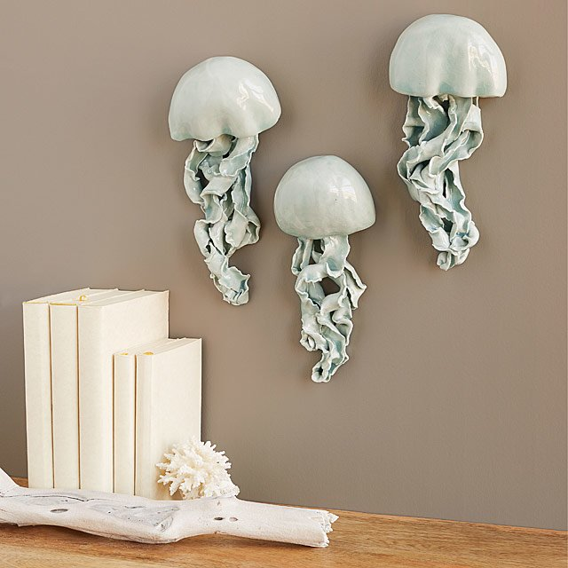 Ceramic Jellyfish Wall Sculptures - Set of 3
