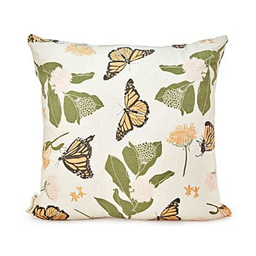 Monarch Butterfly & Milkweeds Throw Pillow