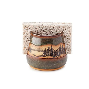 Stoneware Mountain Scene Sponge Holder