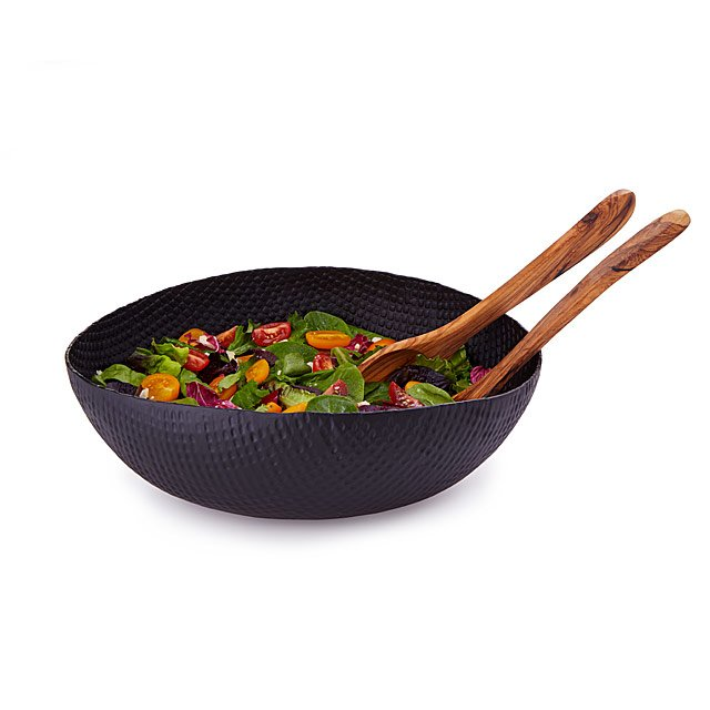 Aluminum Salad Bowl with Olive Wood Serving Set